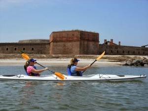 kayaking around Fort Clinch Amelia Island
